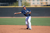 San Diego Padres second baseman Luis Almanzar (14) throws to first base during an Instructional League game against the Milwaukee Brewers at Peoria Sports Complex on September 21, 2018 in Peoria, Arizona. (Zachary Lucy/Four Seam Images)