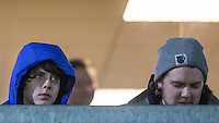 Musicians Jake Bugg & Saint Raymond watch from an Executive Box during the Sky Bet League 2 match between Wycombe Wanderers and Notts County at Adams Park, High Wycombe, England on 15 December 2015. Photo by Andy Rowland.