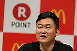Japan's online shopping giant Rakuten president Hiroshi Mikitani speaks during a news conference on May 26, 2017, Tokyo, Japan. Rakuten and McDonald's have cemented their business relationship by launching an original point card which can be used at all of the 2,900 McDonald's stores in Japan. (Photo by Rodrigo Reyes Marin/AFLO)