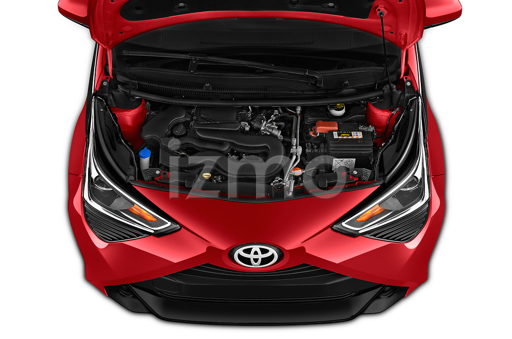 Car Stock 2019 Toyota Aygo x-Play 5 Door Hatchback Engine  high angle detail view