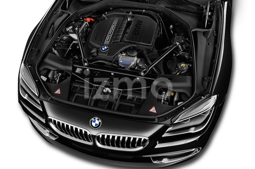 Car Stock 2015 BMW 6 Series 640i 2 Door Convertible Engine high angle detail view