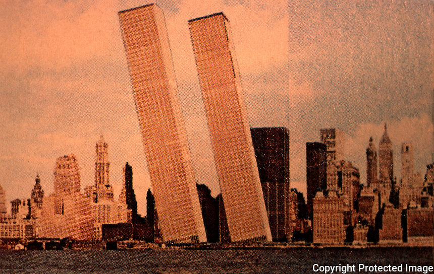 "Utopia:  World Trade Center ""Trade-Offs""--Tilting-on-Hudson.  Postcard by Michael Langenstein in NEW YORK MAGAZINE, July 21, 1975."