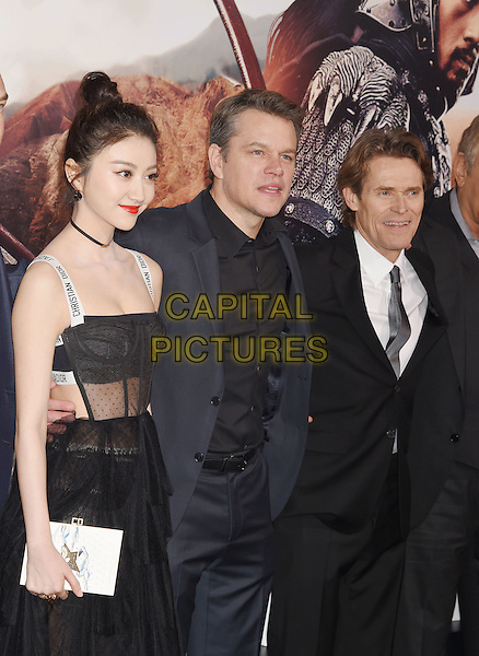HOLLYWOOD, CA - FEBRUARY 15: (L-R) Actors Jing Tian; Matt Damon; Willem Dafoe arrives at the premiere of Universal Pictures' 'The Great Wall' at TCL Chinese Theatre IMAX on February 15, 2017 in Hollywood, California.<br /> CAP/ROT/TM<br /> &copy;TM/ROT/Capital Pictures