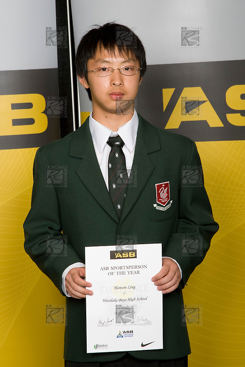 Boys Table Tennis winner Hanson Ling from Westlake Boys High School. ASB College Sport Young Sportperson of the Year Awards 2008 held at Eden Park, Auckland, on Thursday November 13th, 2008.