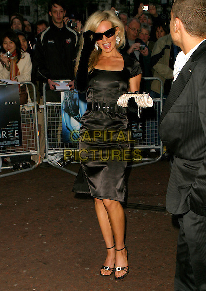 """NICCI LEGG.Arrivals for the World Premiere of """"Three"""", .Odeon West End, London, England, .May 2nd 2006..full length black satin dress sunglasses long gloves nikki nicki.REf: AH.www.capitalpictures.com.sales@capitalpictures.com.©Adam Houghton/Capital Pictures."""