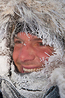 Sven Haltman is frosted up at 16 degrees below zero at the village checkpoint of Ruby in Interior Alaska during the 2010 Iditarod