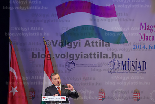 Viktor Orban prime minister of Hungary talks during a business conference in Budapest, Hungary on February 17, 2014. ATTILA VOLGYI