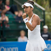 June 13th 2017, Nottingham, England; WTA Aegon Nottingham Open Tennis Tournament day 4;  Fist pump from Heather Watson of Great Britain after wining a game in her match against Alison Riske of USA