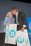 Brexit Party EU elections campaign launch at  The Neon in Newport, South Wales. Brexit Party Leader Nigel Farage alongside Ann Widdecombe of the Brexit Party at the end of the event.