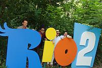 RIO DE JANEIRO, RJ, 17.03.2014 - Rodrigo Santoro, Carlinhos Brown, Sergio Mendes e Carlos Saldanha  participam nesta segunda-feira na coletiva de imprensa que apresenta o lançamento do filme de animação Rio 2, no Parque Lage, zona sul da cidade. (Foto. Néstor J. Beremblum / Brazil Photo Press)