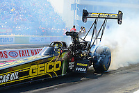 Sept. 22, 2012; Ennis, TX, USA: NHRA top fuel dragster driver Morgan Lucas during qualifying for the Fall Nationals at the Texas Motorplex. Mandatory Credit: Mark J. Rebilas-