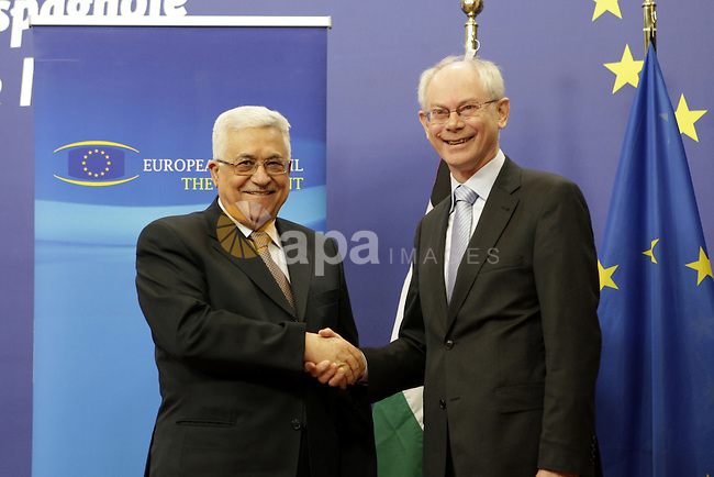Palestinian President Mahmoud Abbas during the meeting with the European Council President Herman Van Rompuy  in Brussels on Feb 24,2010. Photo by Thaer Ganaim