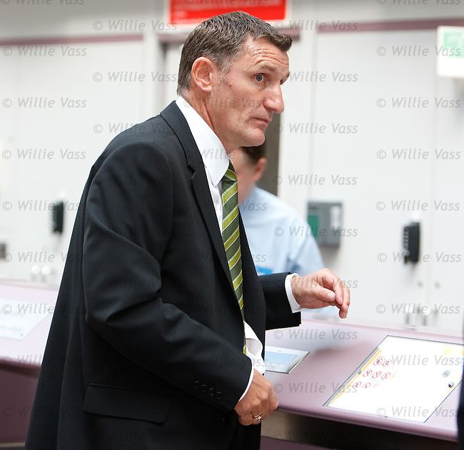 Celtic manager Tony Mowbray at the check-in desk