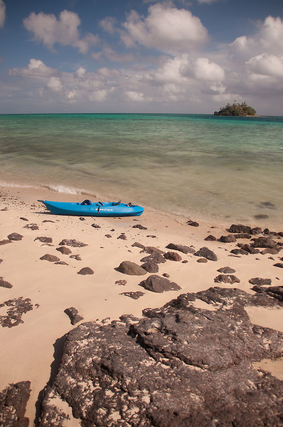 Devil's Beach with Kayak and Paddy's Island, Turtle Island, Yasawa Islands, Fiji