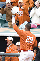Kevin Keyes of the Texas Lonhorns responds to the crowd after hitting a grand slam against the Stanford Cardinal at  UFCU Disch-Falk Field in Austin, Texas on Friday February 26th, 2100.  (Photo by Andrew Woolley / Four Seam Images)