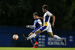 05 October 2015: Duke's Zach Mathers (left) crosses the ball past Hofstra's Sean Nealis (right). The Duke University Blue Devils hosted the Hofstra University Pride at Koskinen Stadium in Durham, NC in a 2015 NCAA Division I Men's Soccer match. Duke won the game 3-2 in overtime.