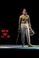 Aug. 9, 2008; Beijing, CHINA; Becca Ward (USA) reacts after losing her semi final match to Mariel Zagunis (not pictured) during the womens fencing individual sabre competition at the Fencing Hall in the 2008 Beijing Olympic Games. Mandatory Credit: Mark J. Rebilas-