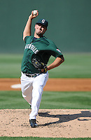 Pitcher Brandon Workman (32) of the Greenville Drive pitches during his professional debut against the Augusta GreenJackets on April 10, 2011, at Fluor Field at the West End in Greenville, S.C. The second-round selection by the Boston Red Sox out of the University of Texas in the 2010 Major League Baseball First-Year Player Draft, Workman lasted only two innings, allowing two unearned runs on two hits. Photo by Tom Priddy / Four Seam Images