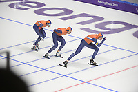 OLYMPIC GAMES: PYEONGCHANG: 21-02-2018, Gangneung Oval, Long Track, Team Pursuit, Team Netherlands, Jan Blokhuijsen, Sven Kramer, Patrick Roest, ©photo Martin de Jong