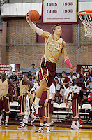 TALLAHASSEE, FLA. 10/15/10-FSUMBB 101510 CH-Florida State's Deividas Dulkys does a victory lap slam after winning the dunk competition during Jam with Ham basketball season kickoff Friday at Tully Gym in Tallahassee. ..COLIN HACKLEY PHOTO
