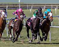 HALLANDALE BEACH, FL - MAR 3:Laythatpistoldown #11 trained Jorge Navarro with Irad Ortiz Jr in the irons prepares to take the lead at the final turn on the way to winning the $36,000 claming race at Gulfstream Park on March 3, 2018 in Hallandale Beach, Florida. (Photo by Bob Aaron/Eclipse Sportswire/Getty Images)