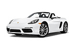 Stock pictures of low aggressive front three quarter view of a 2017 Porsche 718 Boxster 2 Door Convertible