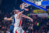 22nd March 2018, Aleksandar Nikolic Hall, Belgrade, Serbia; Turkish Airlines Euroleague Basketball, Crvena Zvezda mts Belgrade versus Fenerbahce Dogus Istanbul; Forward Dejan Davidovac of Crvena Zvezda mts Belgrade dunks while Forward Luigi Datome of Fenerbahce Dogus Istanbul tries to stop him