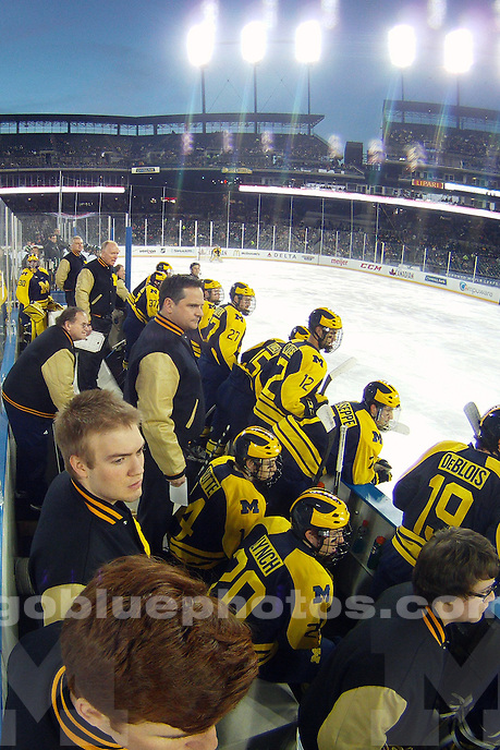 The University of Michigan ice hockey team falls to Michigan State,3-0, in the semi-finals of the Great Lakes Invitational at Comerica Park in Detroit, Mich. on December 28, 2013.