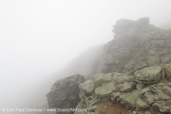 Stone profiles in foggy conditions along the Appalachian Trail (Franconia Ridge Trail) south of Mt Lincoln in an area referred to as the gargoyles in the White Mountains, New Hampshire.