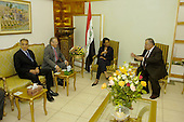 From left United States Ambassador to Iraq Zalmay Khalilzad, US Secretary of Defense Donald H. Rumsfeld and US Secretary of State Condoleezza Rice meet with President Jalal Talabani of Iraq in Baghdad, Iraq, on April 26, 2006.  Rumsfeld and Rice made an unannounced visit to Iraq to meet with senior military commanders and Iraq's new Prime Minister designate Jawad al-Maliki.  <br /> Mandatory Credit: Chad J. McNeeley / DoD via CNP