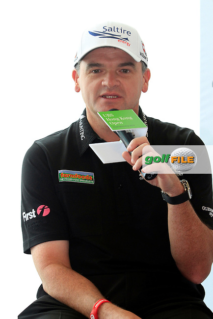"""Former Open Championship Winner Paul Lawrie (SCO) during the """"Meet the Players"""" Press Conference and Photo Call held at the Pearl on the Peak, The Peak Tower, Hong Kong ahead of the UBS Hong Kong Open 2012, Hong Kong Golf Club, Fanling, Hong Kong. 13/11/12...(Photo Jenny Matthews/www.golffile.ie)"""