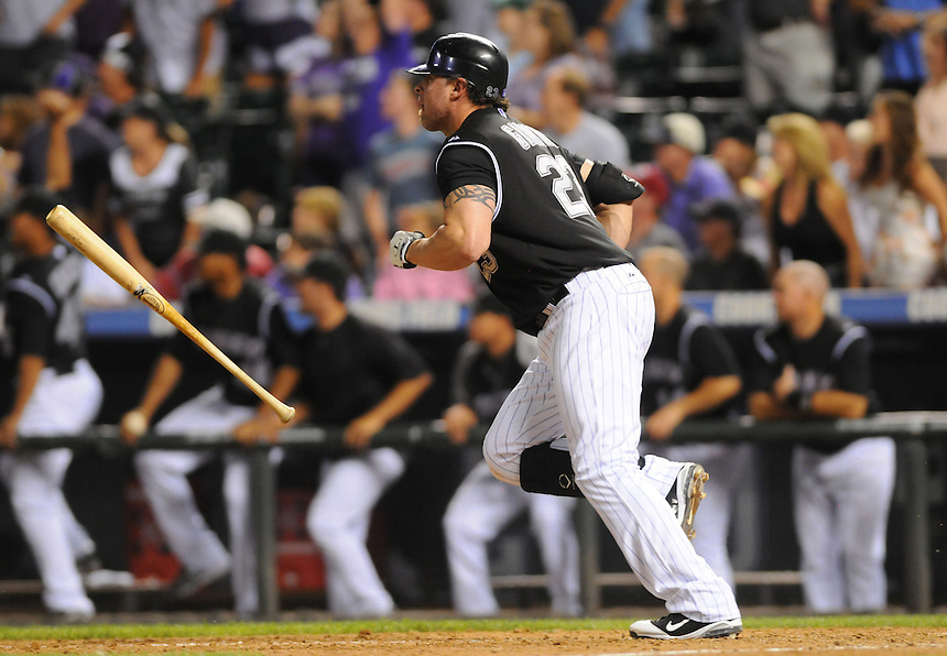15 AUGUST 2011:  Colorado Rockies first baseman Jason Giambi (23) hits the game winning walk off three run homerun in the bottom of the ninth inning  during a regular season game between the Florida Marlins and the Colorado Rockies at Coors Field in Denver, Colorado. The Rockies beat the Marlins 7-4. *****For Editorial Use Only*****