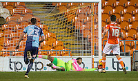 Goalkeeper Jamal Blackman of Wycombe Wanderers saves a penalty from Daniel Philliskirk (18) of Blackpool during the The Checkatrade Trophy match between Blackpool and Wycombe Wanderers at Bloomfield Road, Blackpool, England on 10 January 2017. Photo by Andy Rowland / PRiME Media Images.