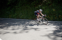Aleksejs Saramotins (LVA/IAM) descending the Colle Caprile as one of the very last riders in the race<br /> <br /> 2015 Giro<br /> stage 3: Rapallo - Sestri Levante (136km)