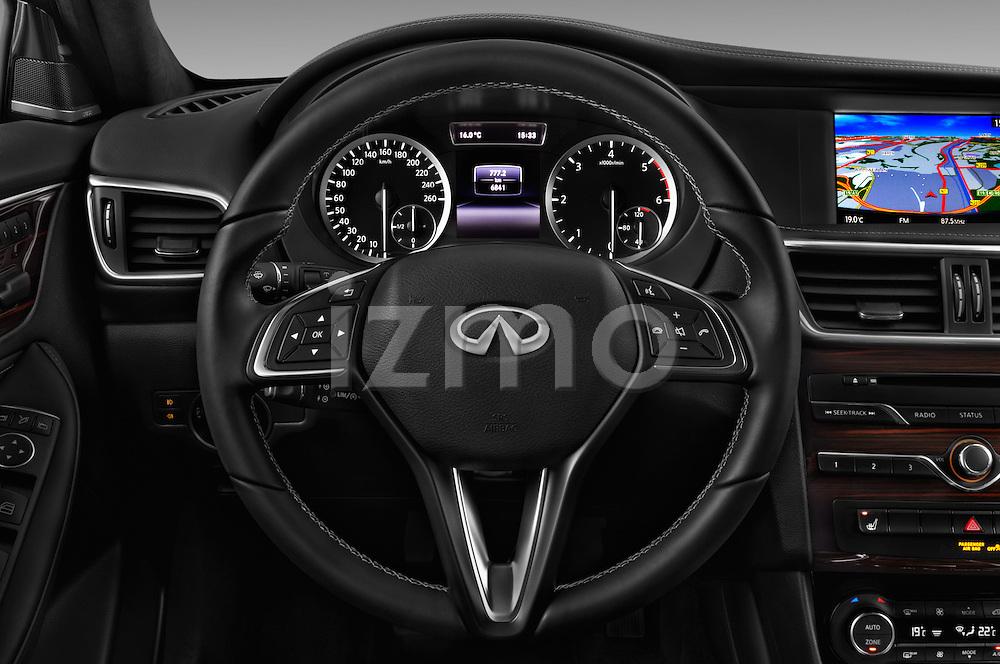 Car pictures of steering wheel view of a 2016 Infiniti Q30 Premium 5 Door Hatchback Steering Wheel