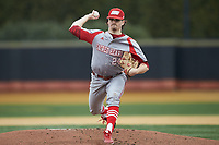 Sacred Heart Pioneers starting pitcher Brent Teller (24) in action against the Wake Forest Demon Deacons at David F. Couch Ballpark on February 15, 2019 in  Winston-Salem, North Carolina.  The Demon Deacons defeated the Pioneers 14-1. (Brian Westerholt/Four Seam Images)