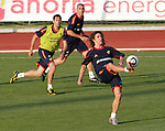 MADRID (24/05/09).- The Spanish Soccer national team has officially begun their hunt for the championship, arriving in the Madrid municipality of Las Rozas to begin preparing for South Africa World Cup.  Carles Puyol, Alvaro Arbeloa and Victor Valdes...PHOTO: Cesar Cebolla / ALFAQUI