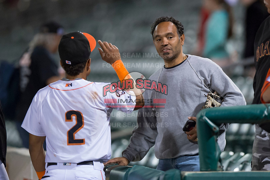 Fresno Grizzlies shortstop Antonio Nunez (2) talks to his father after a Pacific Coast League game against the Salt Lake Bees at Chukchansi Park on May 14, 2018 in Fresno, California. Fresno defeated Salt Lake 4-3. (Zachary Lucy/Four Seam Images)