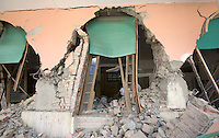 A collapsed convent in the village of Amatrice, central Italy, hit by a magnitude 6 earthquake at 3,36 am, 24 August 2016.<br /> Un convento distrutto dal terremoto che alle 3,36 del mattino ha colpito Amatrice, 24 agosto 2016.<br /> UPDATE IMAGES PRESS/Riccardo De Luca