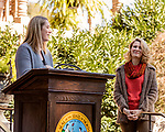 October 26, 2017. Raleigh, North Carolina.<br /> <br /> Audubon North Carolina Executive Director Heather Hahn spoke before the gathered crowd at the garden dedication and was joined by NC First Lady Kristin Cooper. <br /> <br /> A new garden designed by Ben Skelton containing native Plants For Birds was dedicated at the North Carolina Executive Mansion.
