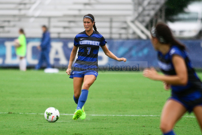 Kentucky junior Olivia Jester looks to pass the ball across the field during the University of Kentucky vs. Ohio women's soccer game at the Wendell and Vickie Bell Soccer Complex in Lexington, Ky., on Sunday, August 31, 2014. Photo by Jonathan Krueger | Staff