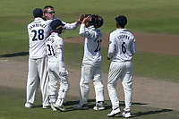 Simon Harmer of Essex celebrates with his team mates after taking the wicket of Shivnarine Chanderpaul during Lancashire CCC vs Essex CCC, Specsavers County Championship Division 1 Cricket at Emirates Old Trafford on 11th June 2018