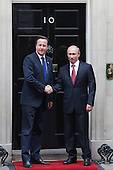 London, England, UK. Thursday, 2 August 2012. Vladimir Putin, President of Russia, meets with Prime Minister David Cameron at Downing Street, London before visiting the Olympic Games to watch some judo competitions.
