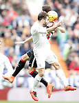 Real Madrid's Daniel Carvajal (f) and Athletic de Bilbao's Sabin Merino during La Liga match. February 13,2016. (ALTERPHOTOS/Acero)