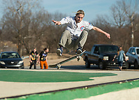 NWA Democrat-Gazette/BEN GOFF @NWABENGOFF<br /> Ian Larsen of Bentonville performs a front side air on his skateboard Friday, Feb. 9, 2018, at the Memorial Park skate park in Bentonville.