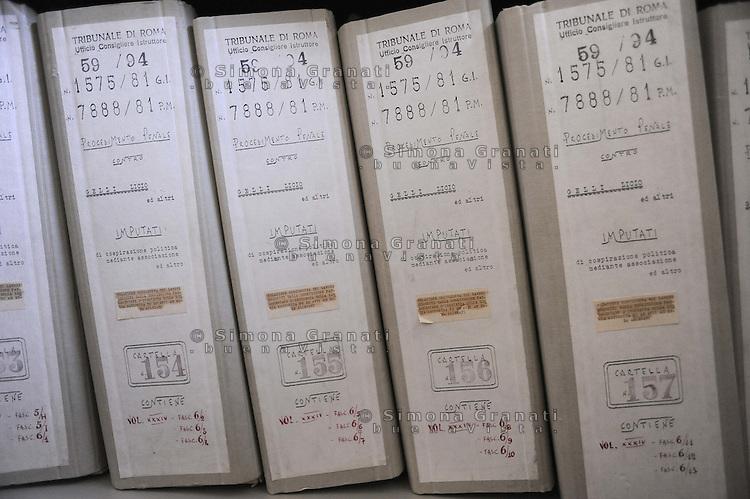 Roma, Maggio 2011.Archivio Giudiziario della corte D'Assise.Le Carte relative ai processi a Licio Gelli, P2