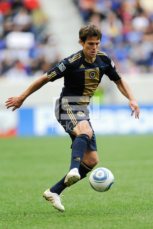 Stefani Miglioranzi (6) of the Philadelphia Union. The New York Red Bulls defeated the Philadelphia Union 2-1 during a Major League Soccer (MLS) match at Red Bull Arena in Harrison, NJ, on April 24, 2010.