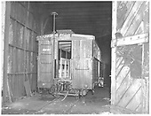 C&amp;TS box car #200 in car shed at Chama being converted to a tourist car.<br /> C&amp;TS  Chama, NM  Taken by Payne, Andy M. - 1/31/1971