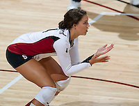 STANFORD, CA - September 2, 2010: Hannah Benjamin during a volleyball match against UC Irvine in Stanford, California. Stanford won 3-0.