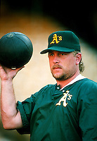 Matt Stairs of the Oakland Athletics during a game at Dodger Stadium in Los Angeles, California during the 1997 season.(Larry Goren/Four Seam Images)